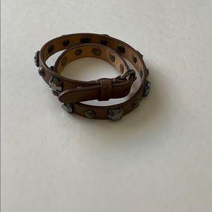 J. crew leather wrap rhinestone bracelet